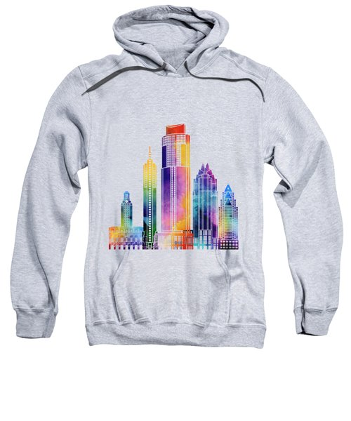 Austin Landmarks Watercolor Poster Sweatshirt by Pablo Romero