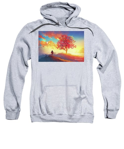 Sweatshirt featuring the painting Autumn Sunrise by Tithi Luadthong