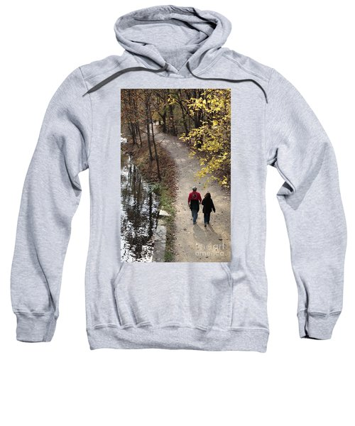 Autumn Walk On The C And O Canal Towpath With Oil Painting Effect Sweatshirt