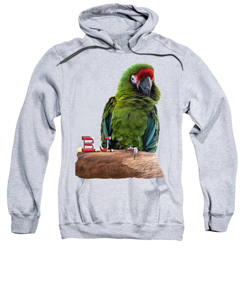 B. J., The Military Macaw Sweatshirt by Zazu's House Parrot Sanctuary