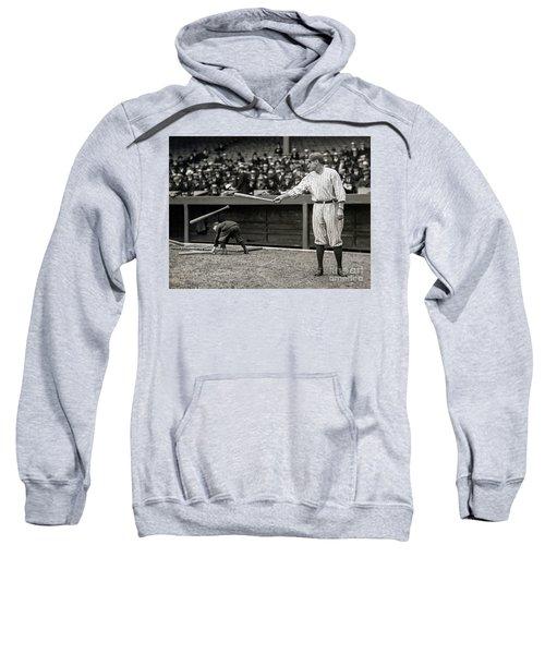 Babe Ruth At Bat Sweatshirt by Jon Neidert