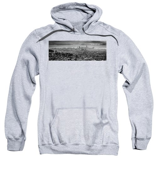 Back And White View Of Downtown San Francisco In A Foggy Day Sweatshirt