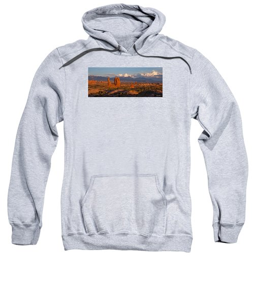 Balanced Rock And Summer Clouds At Sunset Sweatshirt