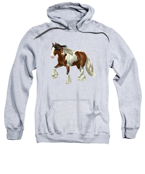 Bay Pinto Gypsy Vanner In Snow Sweatshirt