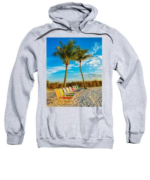 Beach Lounges Under Palms Sweatshirt