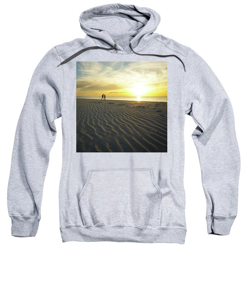 Beach Silhouettes And Sand Ripples At Sunset Sweatshirt