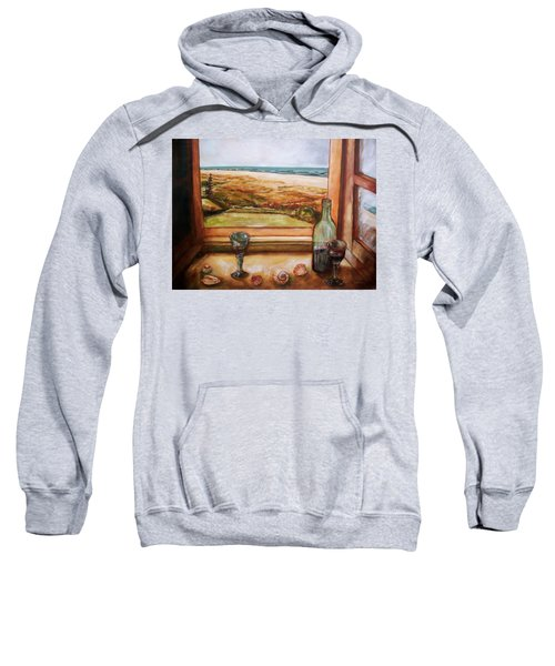 Sweatshirt featuring the painting Beach Window by Winsome Gunning