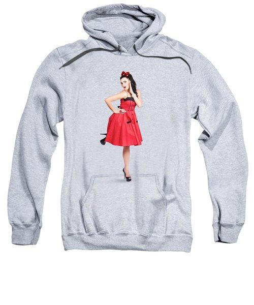 Beautiful Brunette Pinup Girl In Red Retro Dress Sweatshirt