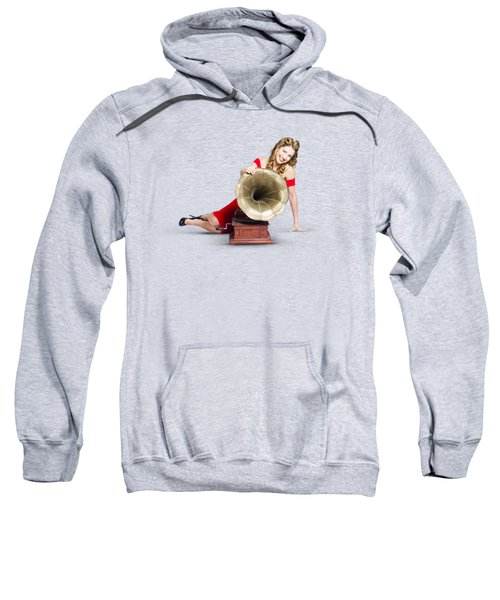 Sweatshirt featuring the photograph Beautiful Pinup Woman Listening To Old Gramophone by Jorgo Photography - Wall Art Gallery