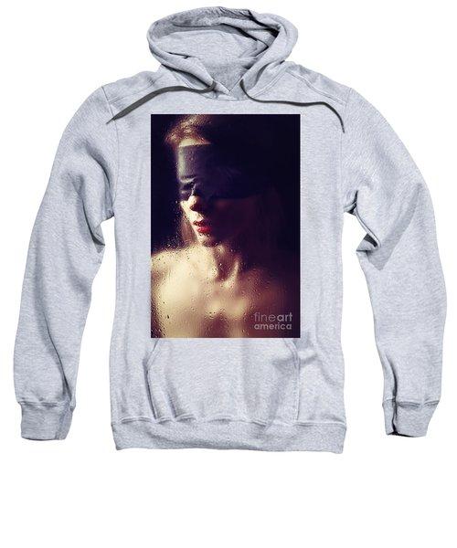 Beautiful Woman Blindfolded #8313 Sweatshirt