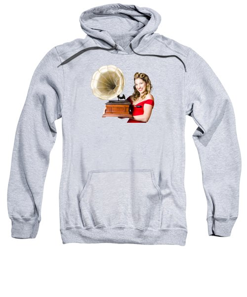 Beautiful Woman With Gramophone Isolated On White Sweatshirt by Jorgo Photography - Wall Art Gallery