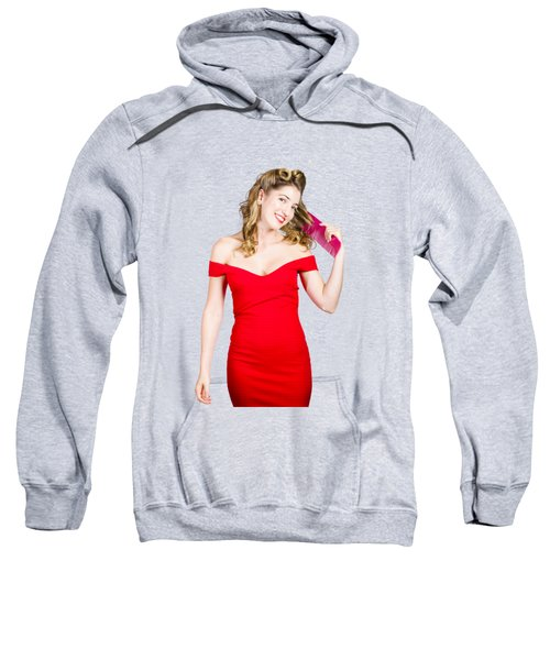 Beautiful Woman With Long Curly Hair And Brush Sweatshirt