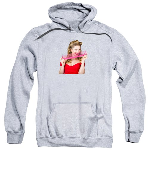 Beauty Salon Pinup Girl Smiling With Haircare Comb Sweatshirt
