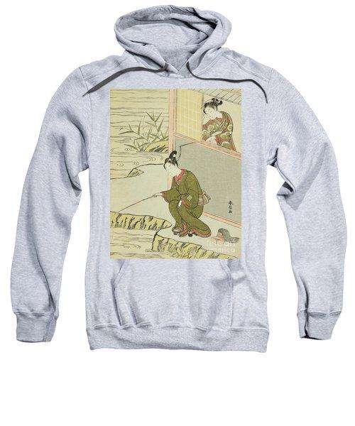 Beauty Teasing A Young Man Fishing Sweatshirt