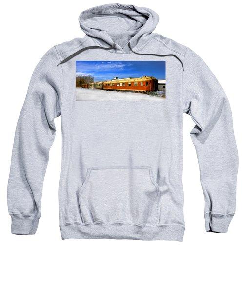 Belfast And Moosehead Railroad Cars In Winter Sweatshirt