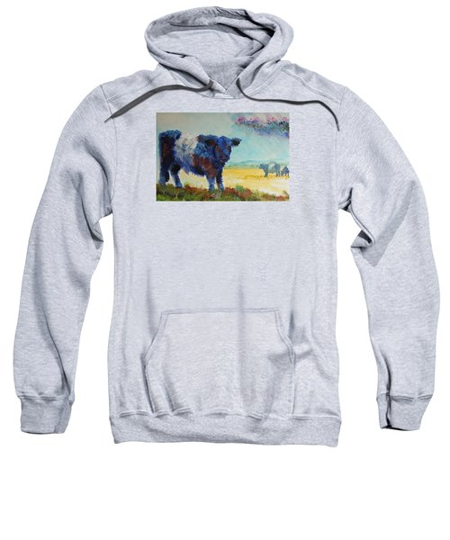 Belted Galloway Cows Painting - About To Rain Sweatshirt