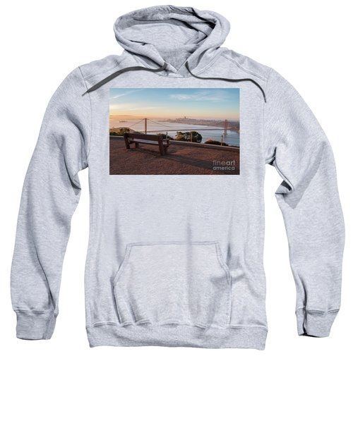 Bench Overlooking Downtown San Francisco And The Golden Gate Bri Sweatshirt