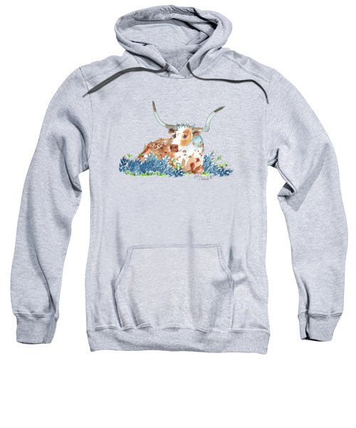 Bessie In The Bluebonnets Watercolor Painting By Kmcelwaine Sweatshirt