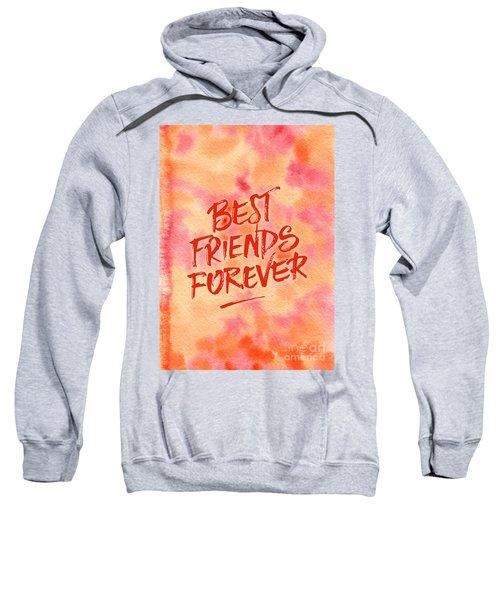 Best Friends Forever Handpainted Abstract Watercolor Pink Orange Sweatshirt