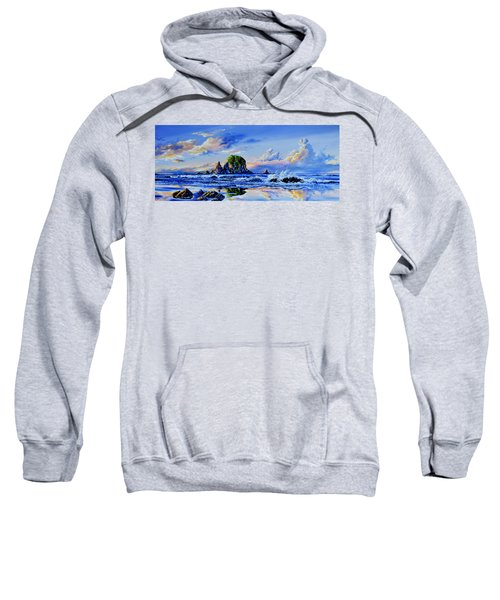 Sweatshirt featuring the painting Beyond The Shore by Hanne Lore Koehler