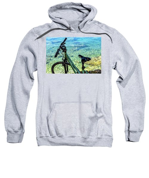 Bicycle By The Adriatic, Rovinj, Istria, Croatia Sweatshirt