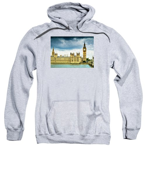 Big Ben And Houses Of Parliament With Thames River Sweatshirt