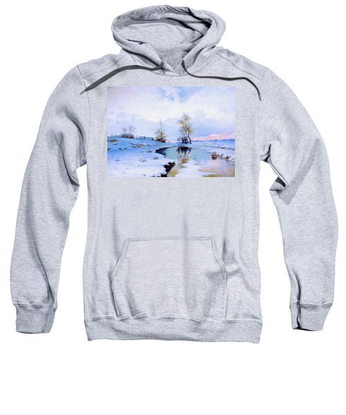 Birth Of Spring In The Snow Sweatshirt