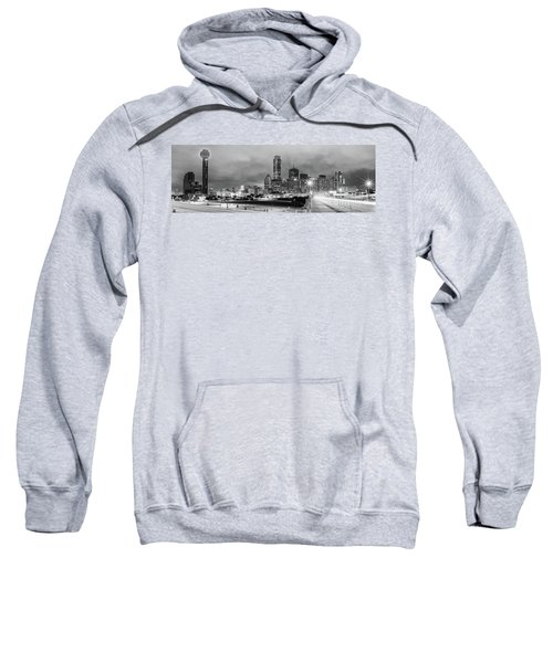 Black And White Panorama Of Downtown Dallas Skyline From South Houston Street - Dallas North Texas Sweatshirt