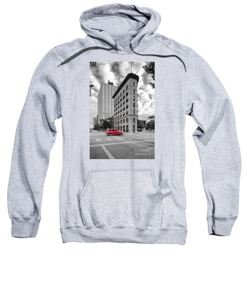 Black And White Photograph Of The Flatiron Building In Downtown Fort Worth - Texas Sweatshirt
