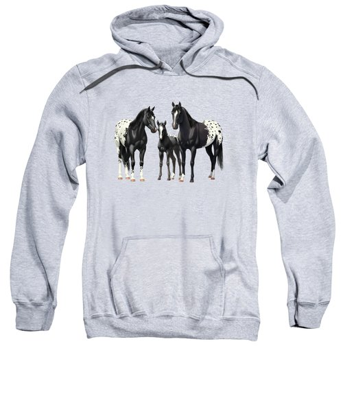 Black Appaloosa Horses In Winter Pasture Sweatshirt