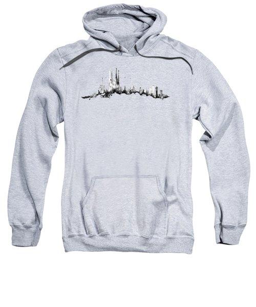 Black Barcelona Skyline Sweatshirt by Aloke Creative Store