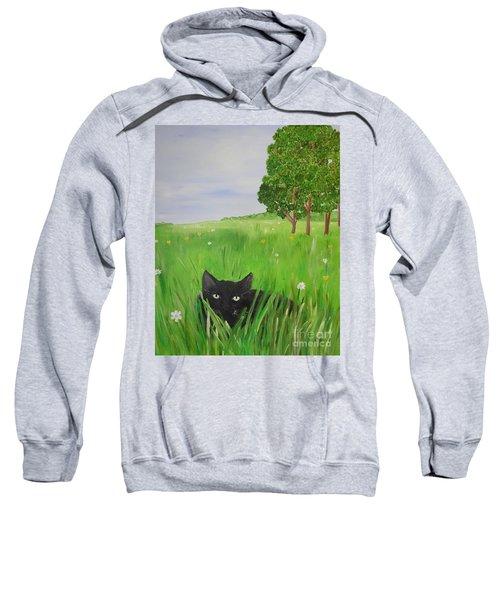 Black Cat In A Meadow Sweatshirt