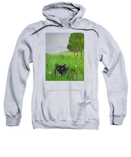 Black Cat In A Meadow Sweatshirt