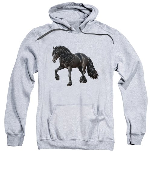 Black Friesian Horse In Snow Sweatshirt by Crista Forest