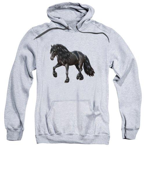 Black Friesian Horse In Snow Sweatshirt