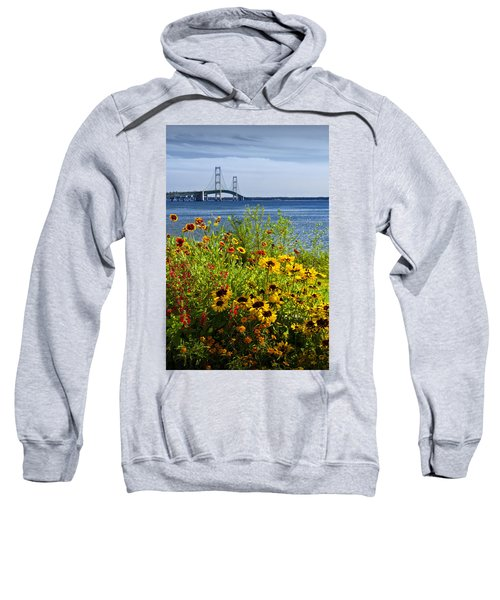 Blooming Flowers By The Bridge At The Straits Of Mackinac Sweatshirt