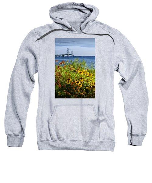 Blooming Flowers By The Bridge At The Straits Of Mackinac Sweatshirt