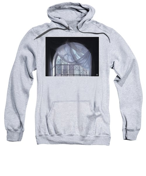 Hand-painted Blue Curtain In An Arch Window Sweatshirt