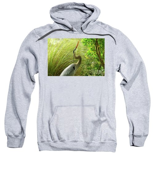 Blue Heron Series Getting The Twig Sweatshirt