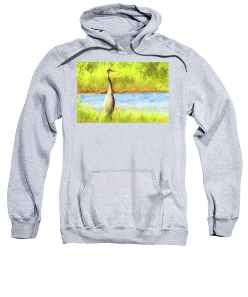 Blue Heron Standing Tall And Alert Sweatshirt
