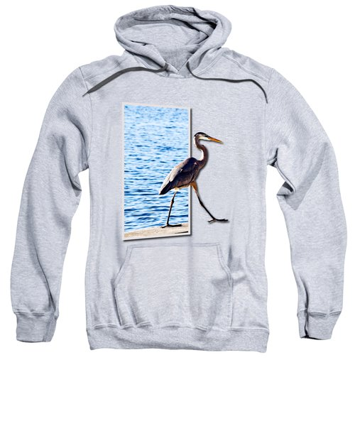 Blue Heron Strutting Out Of Frame Sweatshirt by Roger Wedegis