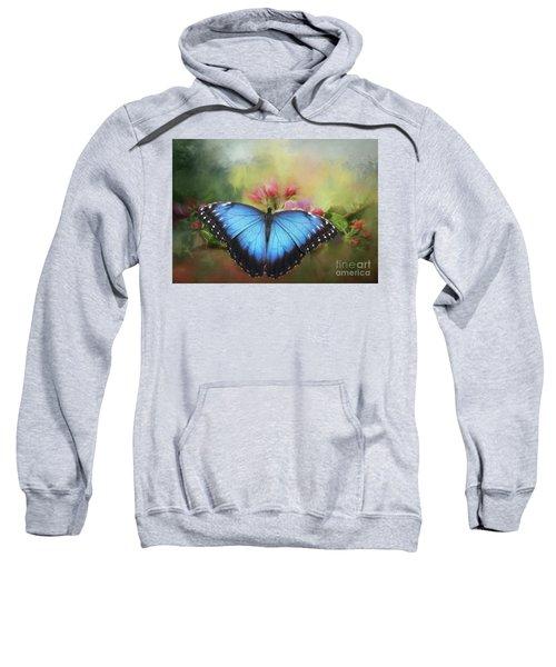 Blue Morpho On A Blossom Sweatshirt