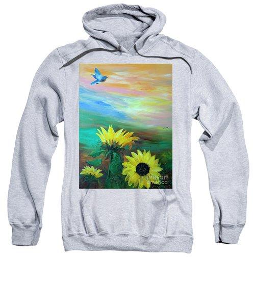 Bluebird Flying Over Sunflowers Sweatshirt