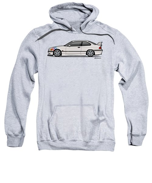 Bmw 3 Series E36 M3 Coupe Lightweight White With Checkered Flag Sweatshirt