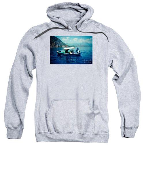 Boat And Sapfir Sea Seascape Artmif Sweatshirt