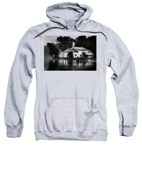 Sweatshirt featuring the photograph Boathouse Bw by Bill Wakeley