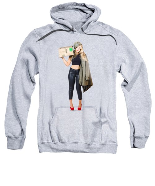 Bombshell Blond Pinup Woman In Dangerous Style Sweatshirt by Jorgo Photography - Wall Art Gallery