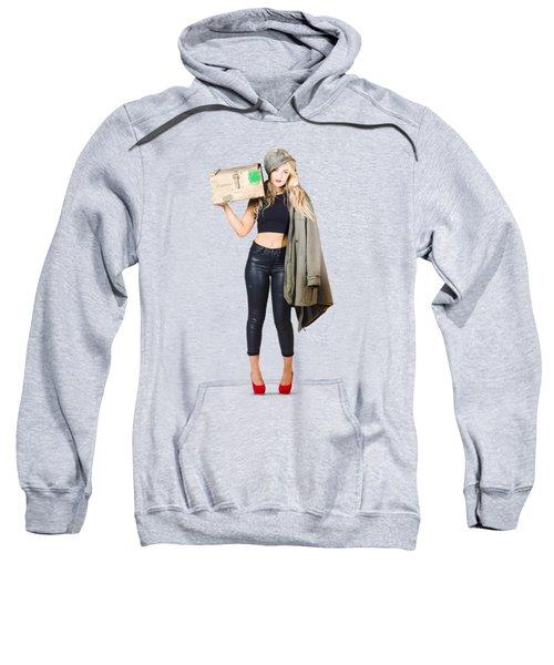 Bombshell Blond Pinup Woman In Dangerous Style Sweatshirt