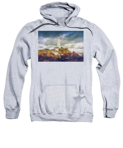 Boston Light On A Stormy Day Sweatshirt