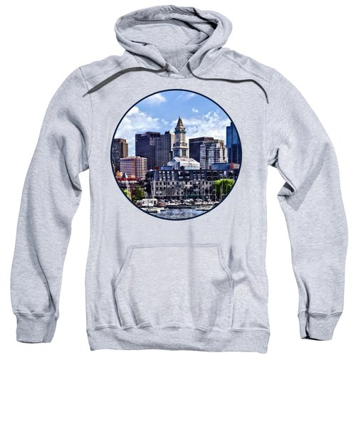 Boston Ma - Skyline With Custom House Tower Sweatshirt